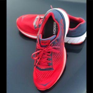 HOKA ONE ONE CAVU WOMEN RUNNING SHOES RED Sz 9 U.S